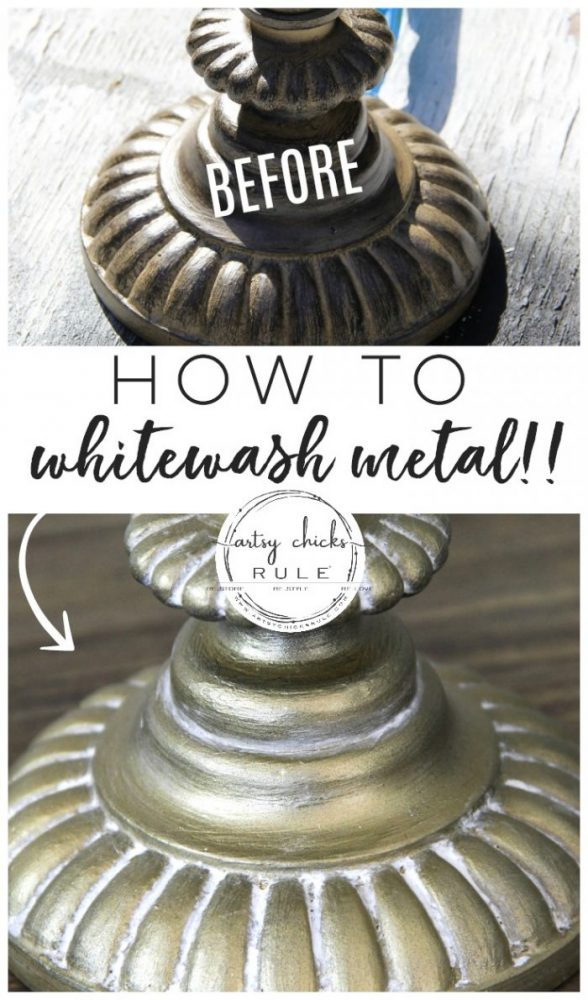 How To Whitewash Metal (simple!!!) artsychicksrule.com #whitewash #whitewashmetal #goldlamps #goldpaint #howtowhitewash #paintfinishes