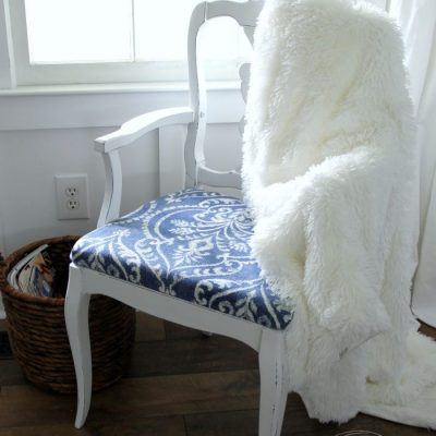 Pretty Blue and White Chair Makeover