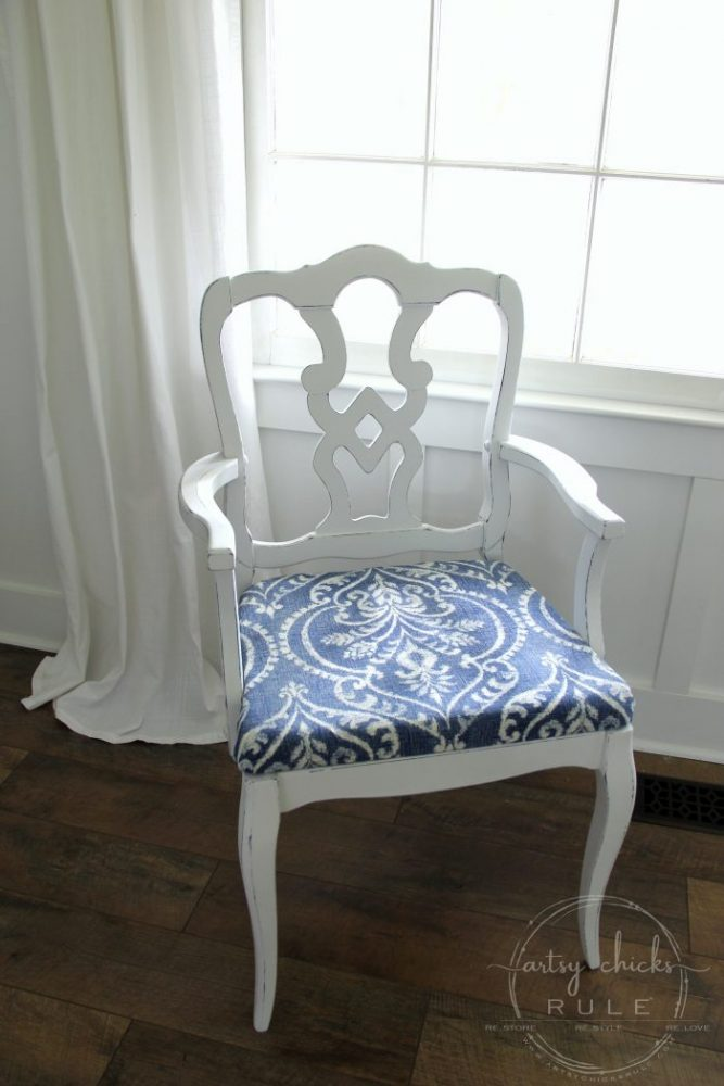 This Pretty BLUE Fabric Made This Chair Makeover!!! artsychicksrule.com #blueandwhitefabric #bluefabric #blueandwhitedecor #chairmakeover #chairideas #bluefurniture #chalkpaintmakeovers #chalkpaintfurniture #paintedfurniture