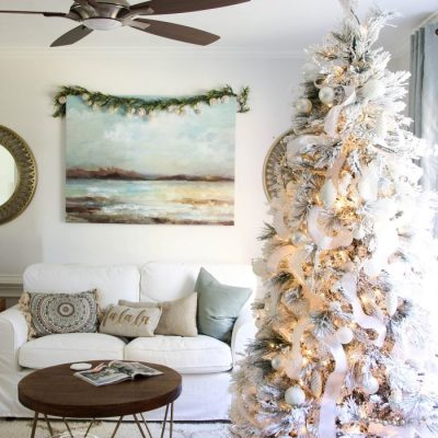 All White Christmas Tree (morning room decor!)