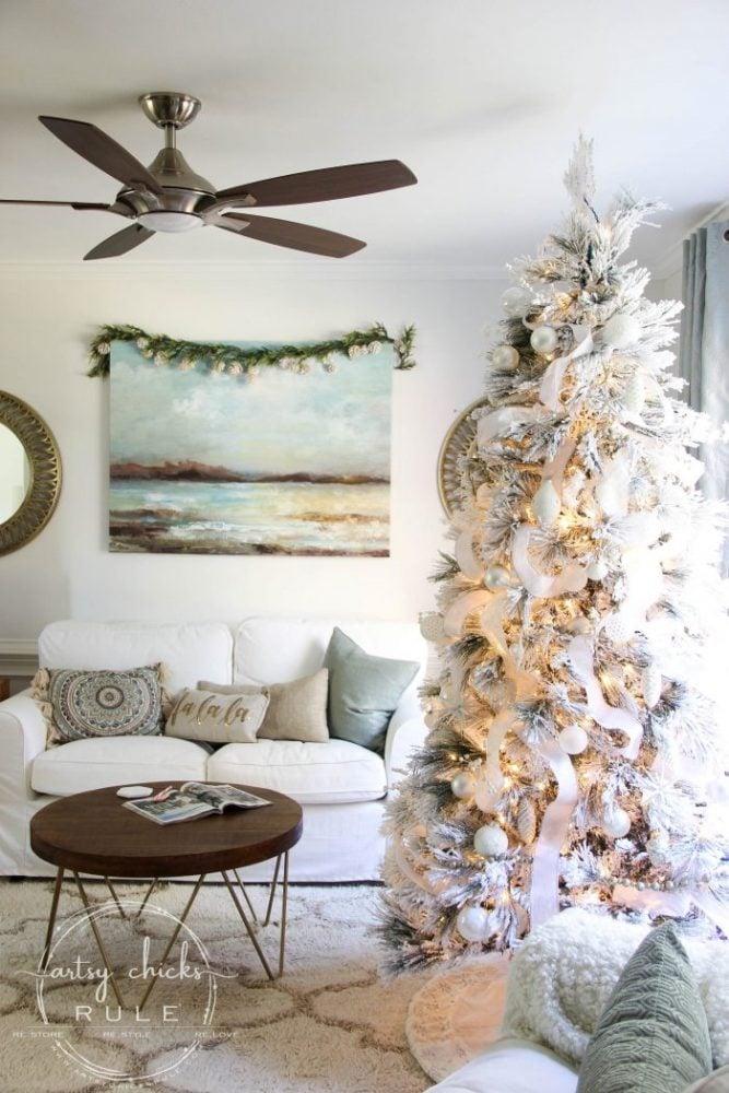 Recreate this magical look with an all white Christmas tree...coastal morning room and coffee bar decor! artsychicksrule.com #Christmasdecor #holidaydecor #allwhiteChristmastree #Christmastree