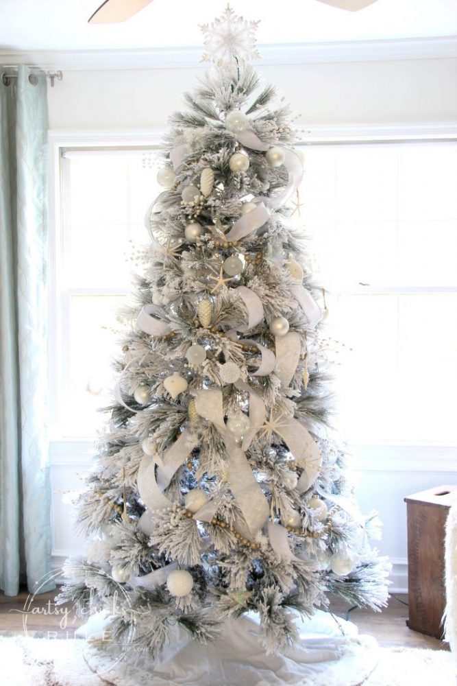 Recreate this magical look with an all white Christmas tree...coastal morning room and coffee bar decor! artsychicksrule.com #Christmasdecor #holidaydecor #allwhiteChristmastree #Christmastree