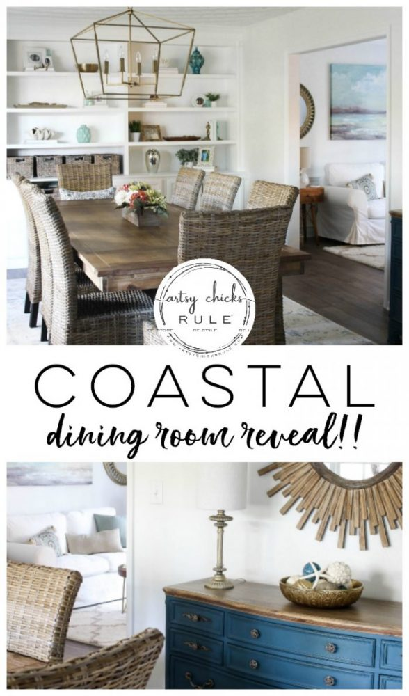 Coastal Dining Room REVEAL!!! - artsychicksrule.com #coastaldecor #coastalstyle #coastaldiningroom #golddecor
