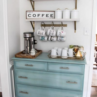 Aqua Dresser Coffee Bar (add dimension with paint!)