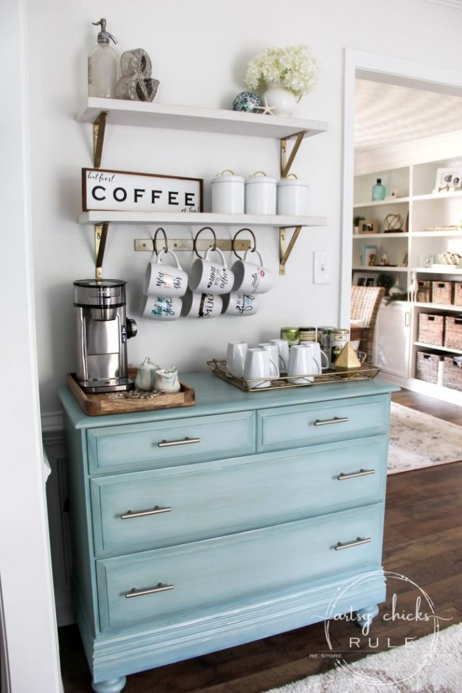 aqua dresser turned coffee bar