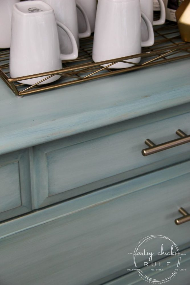 Gorgeous Aqua Dresser with 2 Paint Washes AND Hints of Gold Turned Coffee Bar! artsychicksrule.com #aquadresser #coffeebar #paintedfurniture #furnituremakeover #dresserideas