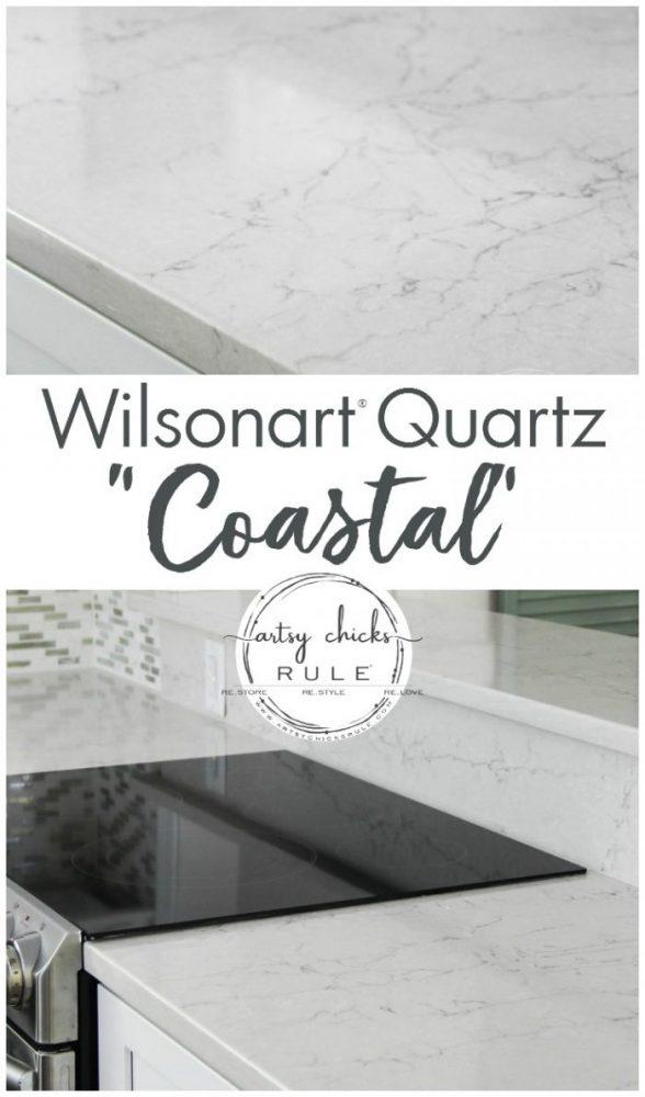 Wilsonart Quartz Coastal - artsychicksrule.com #ad #wilsonartquartz #coastalquartz #quartzcountertops #whitecountertopideas #quartzcountertopideas