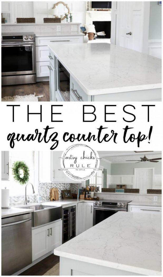 The BEST Quartz ... Period! - artsychicksrule.com #ad #coastalquartz #quartzcountertops #whitecountertopideas #quartzcountertopideas