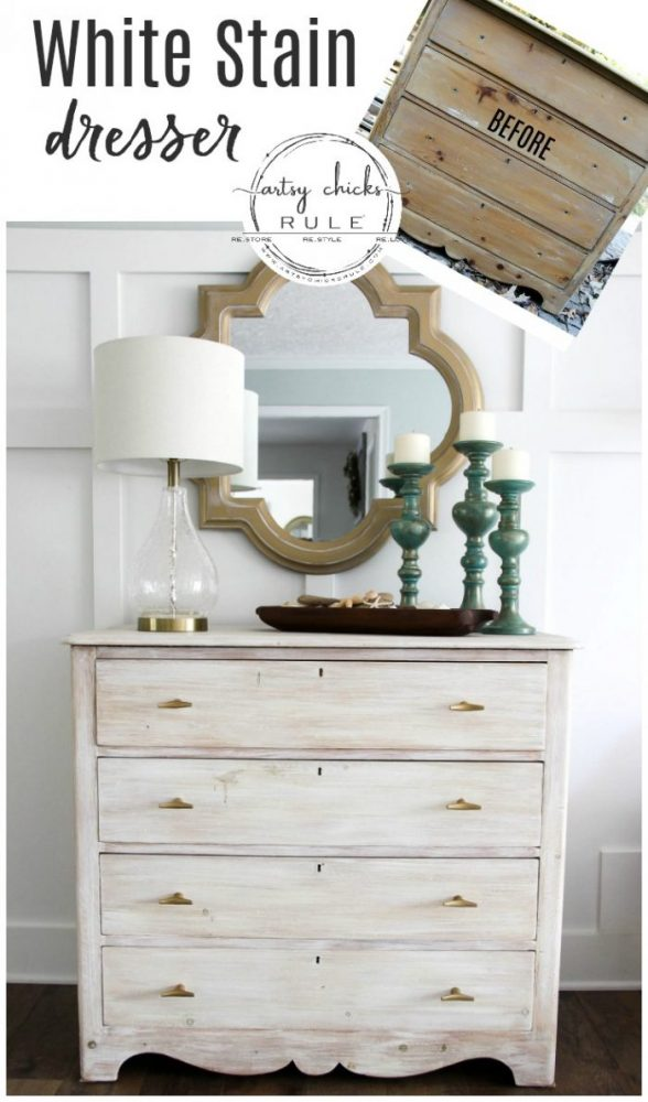 White Stain (using chalk paint, SO easy!!) Dresser Makeover - artsychicksrule.com #whitestain #whitestainmakeover #whitestainfurniture #chalkpaintmakeover #chalkpaintfurniture #paintedfurniture #coastalfurniture #coastalglam #coastaldecor