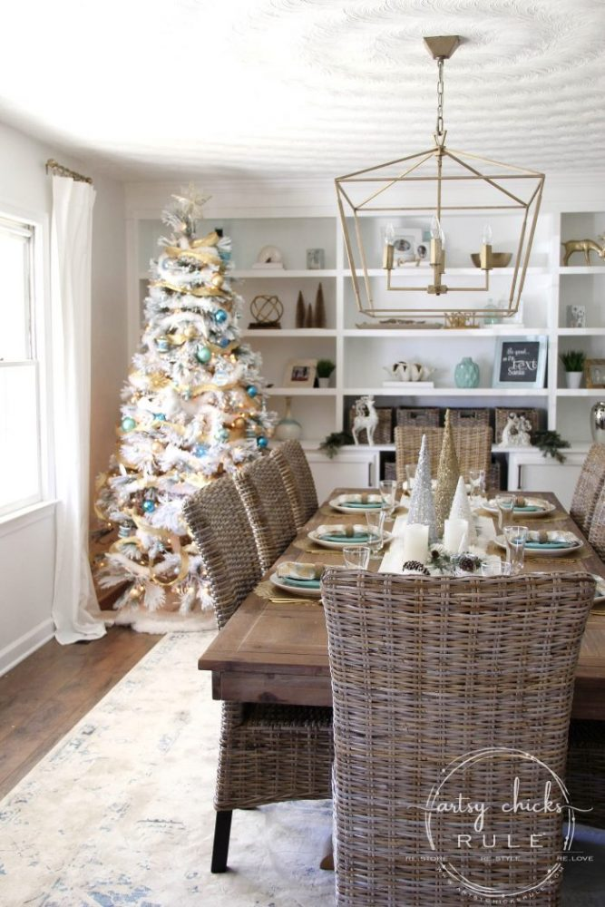 Blue and Gold Christmas Tree and Holiday Dining Room Decor !! artsychicksrule.com #blueandgoldChristmastree #blueandgold #Christmasdining room #diningroomdecor