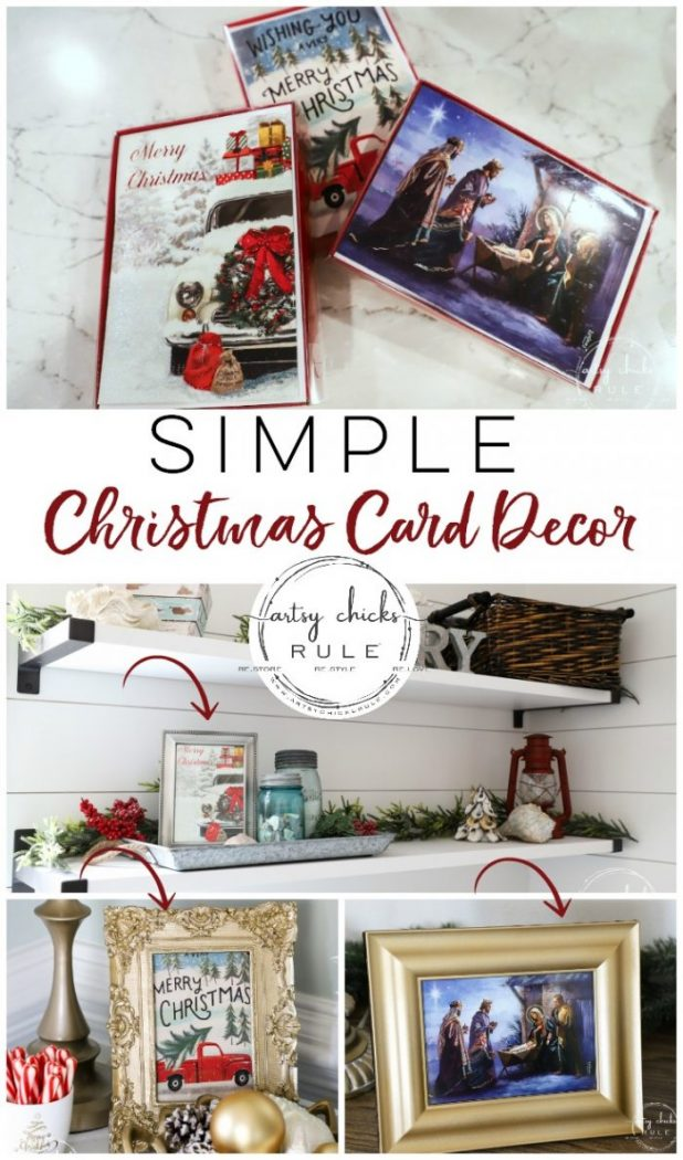 Simple Christmas Card Decor - add some holiday decor with Christmas cards, easy and inexpensive Christmas decor! artsychicksrule.com #holidaydecor #simpledecorideas #christmasdecorideas #christmascraft