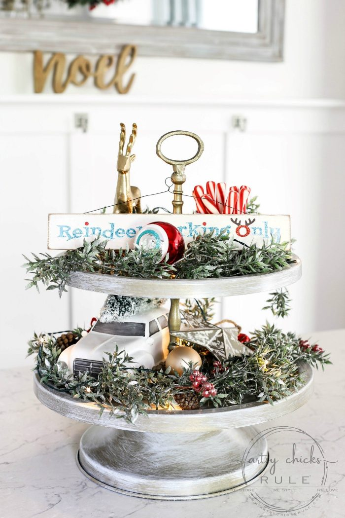 A Holiday Themed Christmas Tiered Tray - artsychicksrule.com (old tray? Make it over too!) #Christmastieredtray #holidaytieredtray #tieredtraydecor #howtodecoratetieredtray