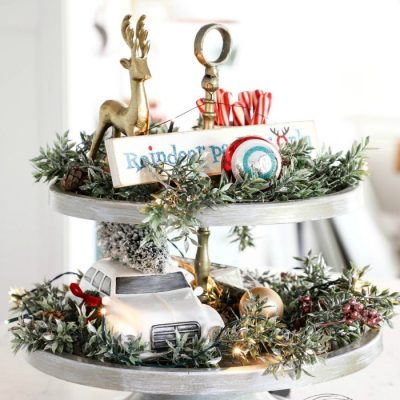 Christmas Tiered Tray (easy makeover!!)