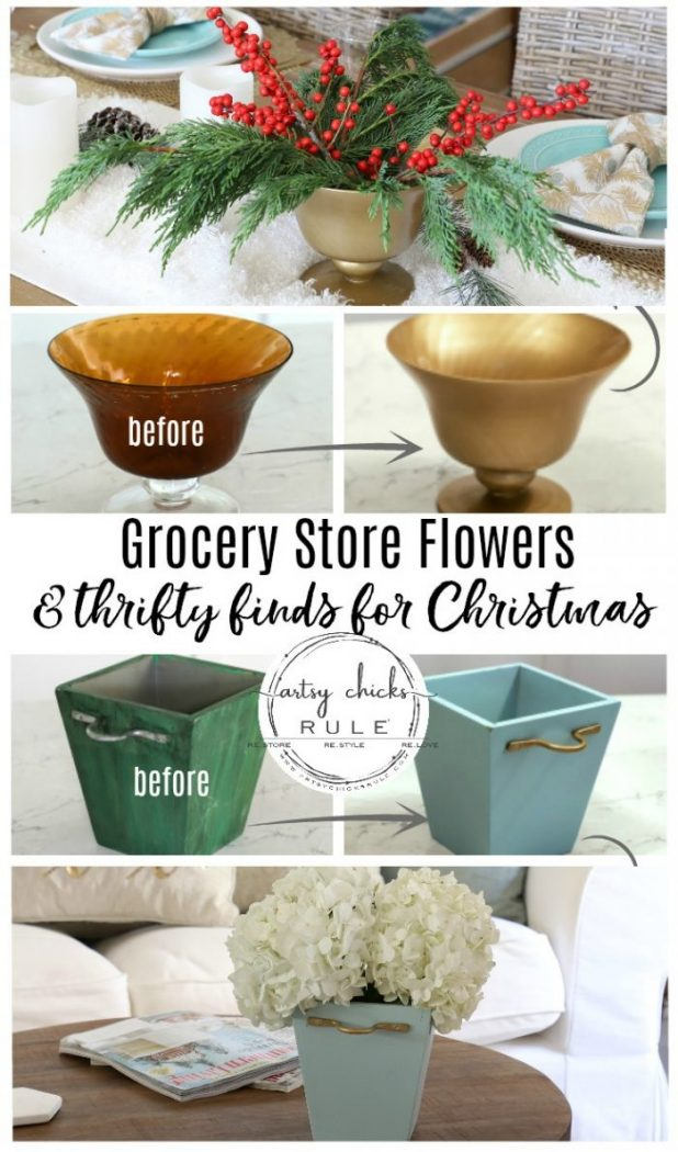 Decorating with Flowers for Christmas! (grocery store flowers) Bring warmth and beauty into your home with natural flowers for the holidays. artsychicksrule.com #flowersforchristmas #christmasflowers #holidayflowers #vaseideas #thriftymakeovers