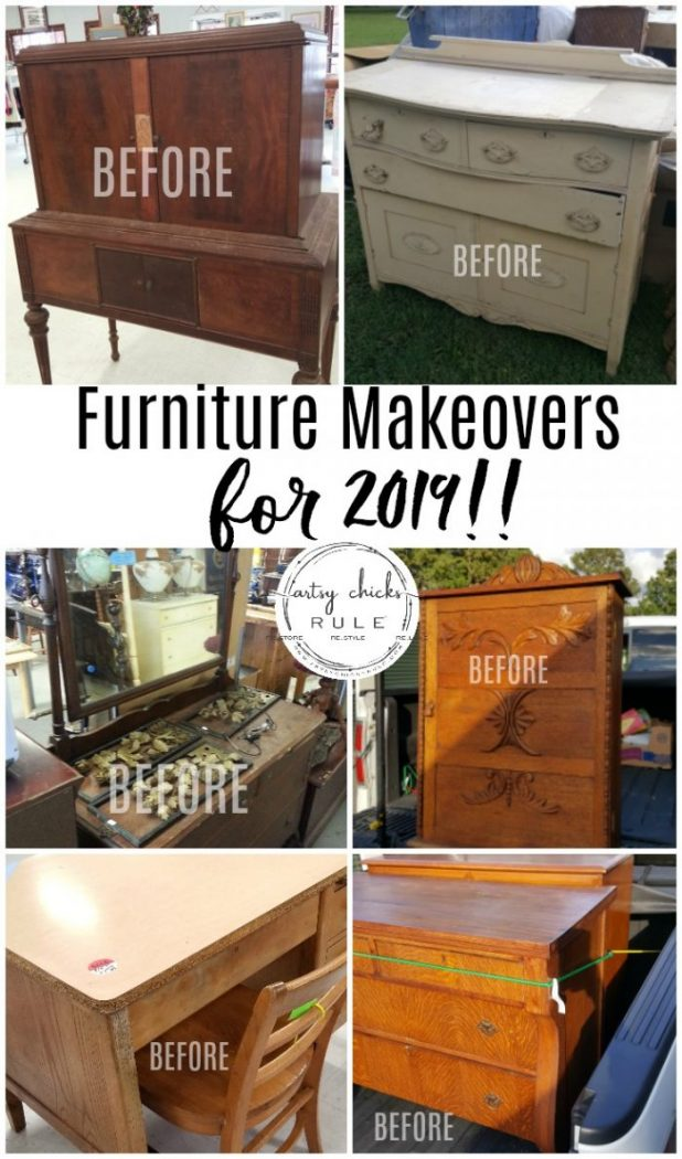 Furniture Makeovers To Come for 2019!!! artsychicskrule.com #furnituremakeovers #paintedfurniture #chalkpaintedfurniture #milkpaintedfurniture