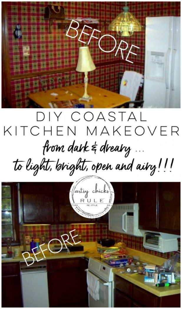 DIY Coastal Kitchen Makeover Reveal!!! White Shaker cabinets, quartz countertops, farmhouse style flooring and more! artsychicksrule.com #kitchenmakeover #kitchenremodel #diykitchen #coastalkitchen #quartzcountertops #farmhouseflooring