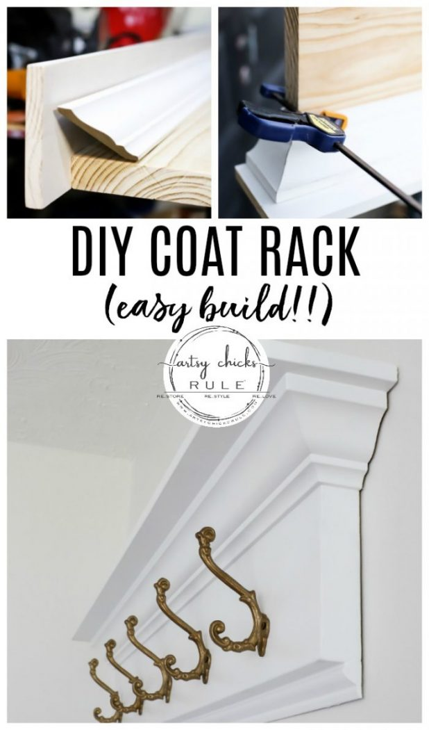 How To Build a DIY Coat Rack (wall mounted and SIMPLE build!!) artsychicksrule.com #diycoatrack #wallrack #wallmountedcoatrack