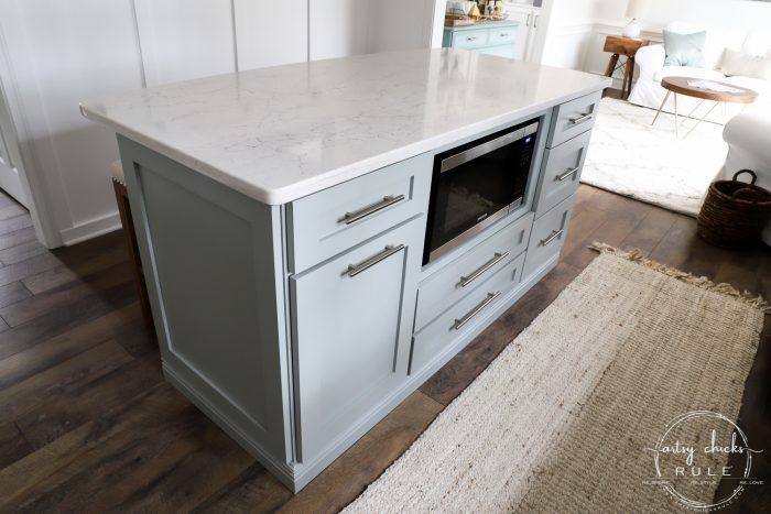 Build your very own DIY KITCHEN ISLAND with big box store cabinets!! Yep! And customize it to your liking and needs! Easier than you think! artsychicksrule.com #diykitchenisland #islandmakeover #blueisland