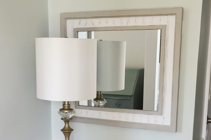 Coastal Style Thrift Store Mirror Makeover!! Budget friendly decor can be found at the thrift store. All you need is a little paint! artsychicksrule.com #thriftstoremakeovers #mirrormakeover #thriftymakeovers #painteddecor