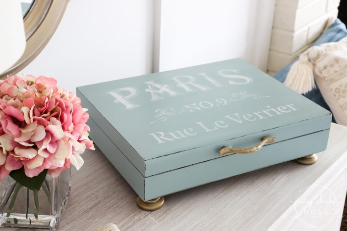 pink flowers and blue paris box