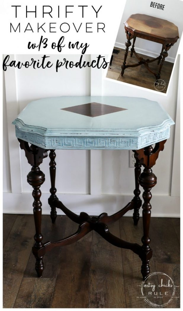 Simple Way To Add Dimension! Gorgeous Makeover with Rustoleum Chalked Paint Serenity Blue and 3 of my favorite products! artsychicksrule.com #rustoleumchalkedpaint #chalkpaint #furnituremakeovers #chalkpaintfurniture #serenityblue #gelstain #javagel