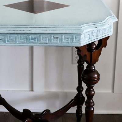 Rustoleum Chalked Paint Serenity Blue (antique table makeover!)
