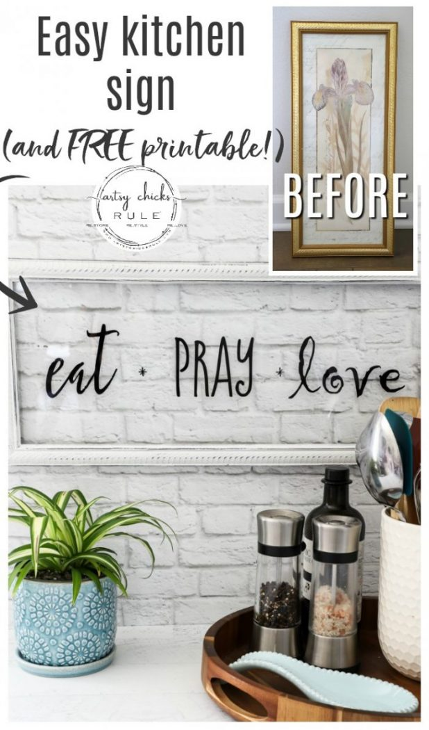 Make this EAT PRAY LOVE sign, simply!!! A cute addition to any kitchen! Perfect for gift giving or fun for your own kitchen decor. artsychicksrule.com #eatpraylove #kitchensign #silhouetteprojects #eatpraylovesign
