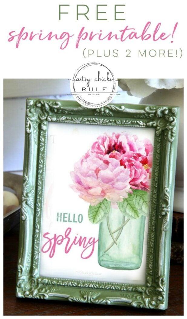 Blue Mason Jar with Pink Flowers Free Printable floral printables for spring artsychicksrule.com