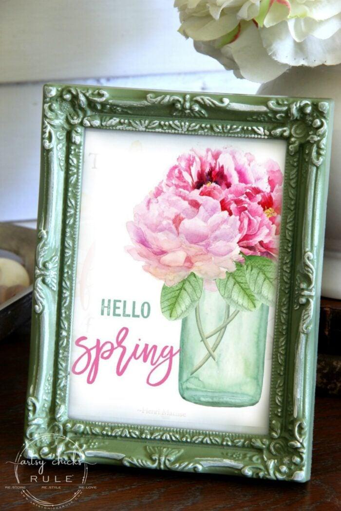 Blue Ball Mason Jar with pink spring flowers free printable artsychicksrule.com floral printables for spring