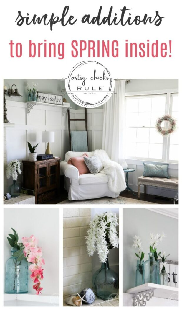 Simple Spring Decorations & Ideas...that don't break the bank! Lots of ideas and tutorials to make your own, too! artsychicksrule.com #springdecor #springdecorideas #springdecorations #springhome #springwreath