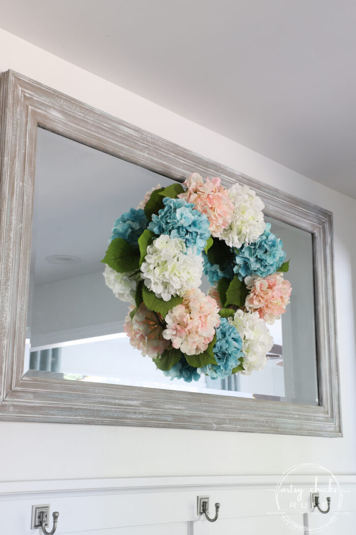 Simple Spring Decorations & Ideas Pink Blue And White Hydrangea Wreath artsychicksrule.com