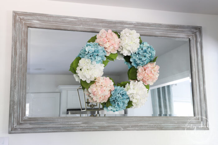 Simple Spring Decorations & Ideas Hydrangea Wreath Pink white and blue wreath artsychicksrule.com