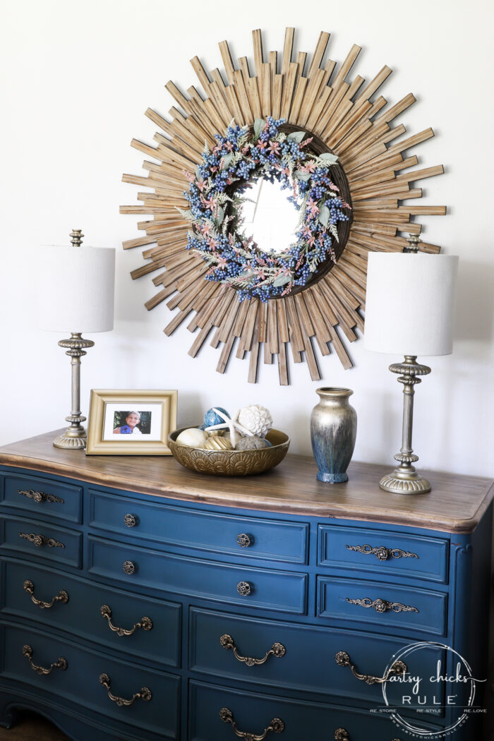 Simple Spring Decorations & Ideas blue dresser with pink and blue wreath artsychicksrule.com