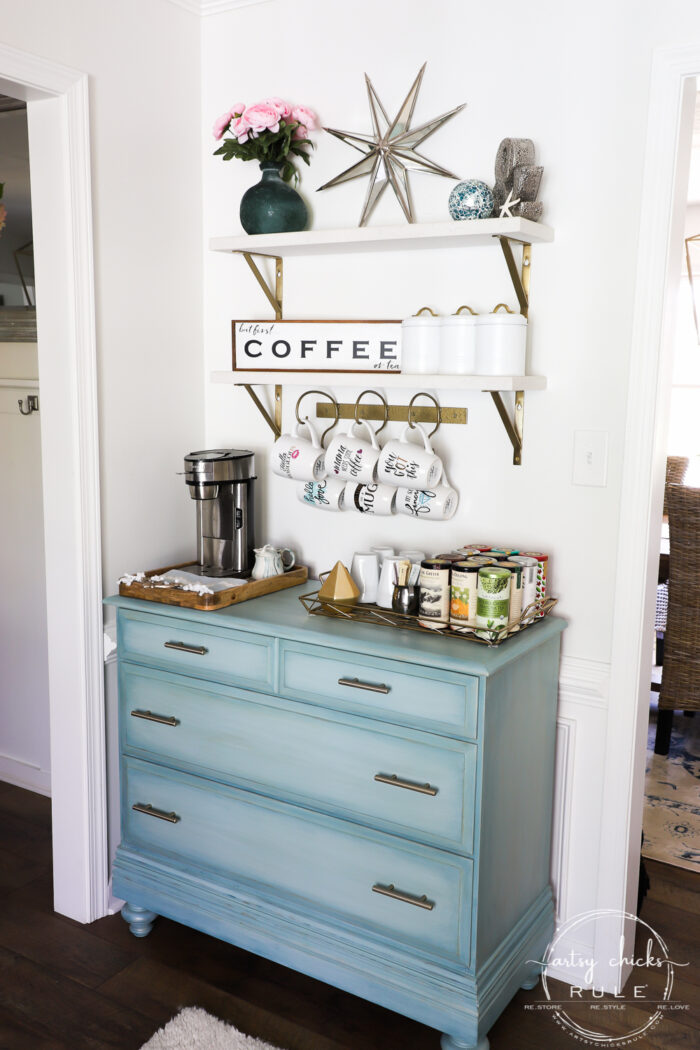 Simple Spring Decorations & Ideas - Coffee Bar Aqua dresser with pink flowers artsychicksrule.com