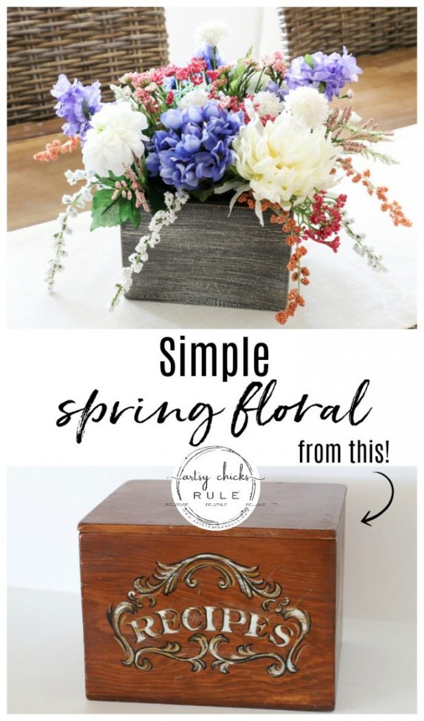 Simple Spring Floral Arrangement - Using an old thrift store find! artsychicksrule.com #springfloralarrangement #springflowers #flowerarrangement #springdecorideas #springdecor