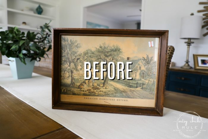 Thrift Store Makeover with TILE!! Simple makeover using an old, framed print. Just add hardware and cute little feet! artsychicksrule.com #tiledtray #tileprojects #thriftstoremakeover #thriftydecor
