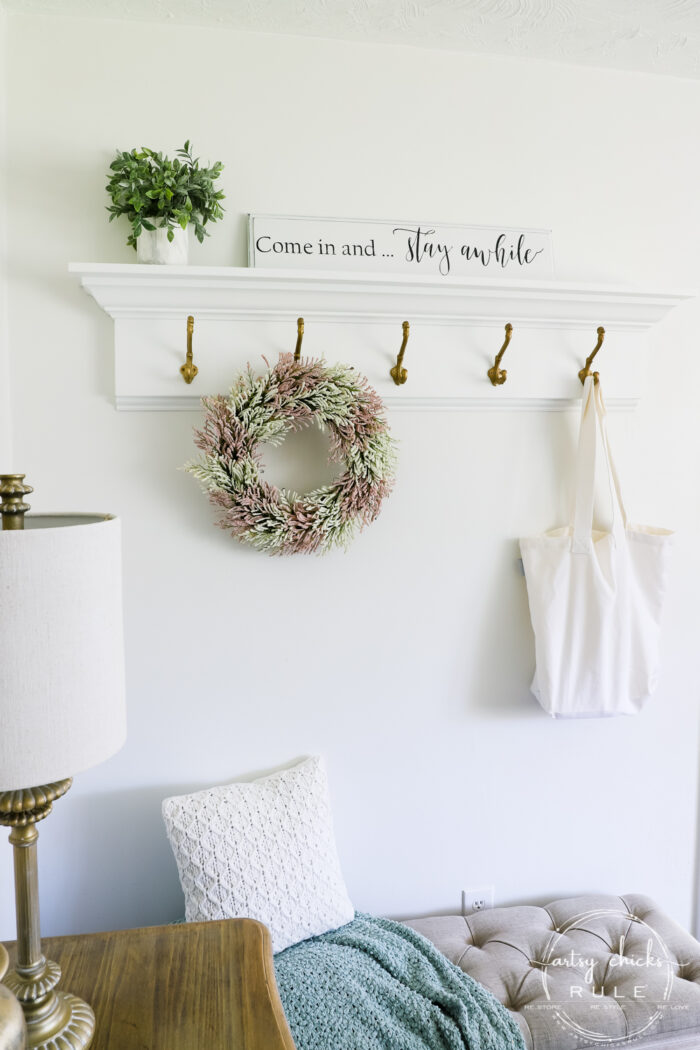 Wall Coat Rack with wreath and sign artsychicksrule.com