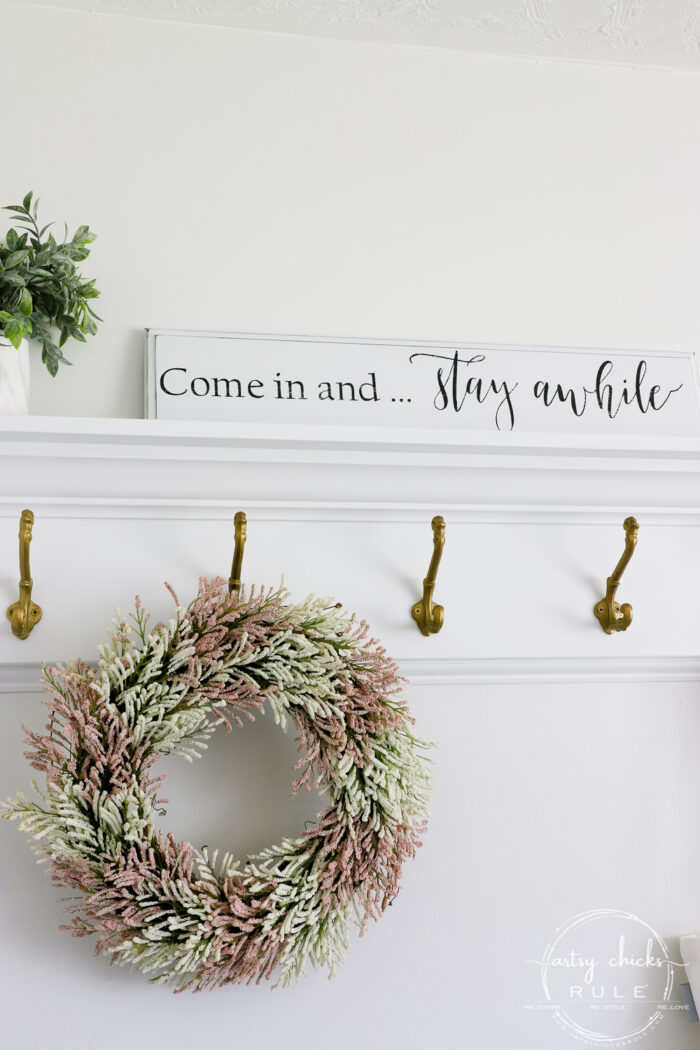 DIY Sign and pink and white wreath with coat rack artsychicksrule.com