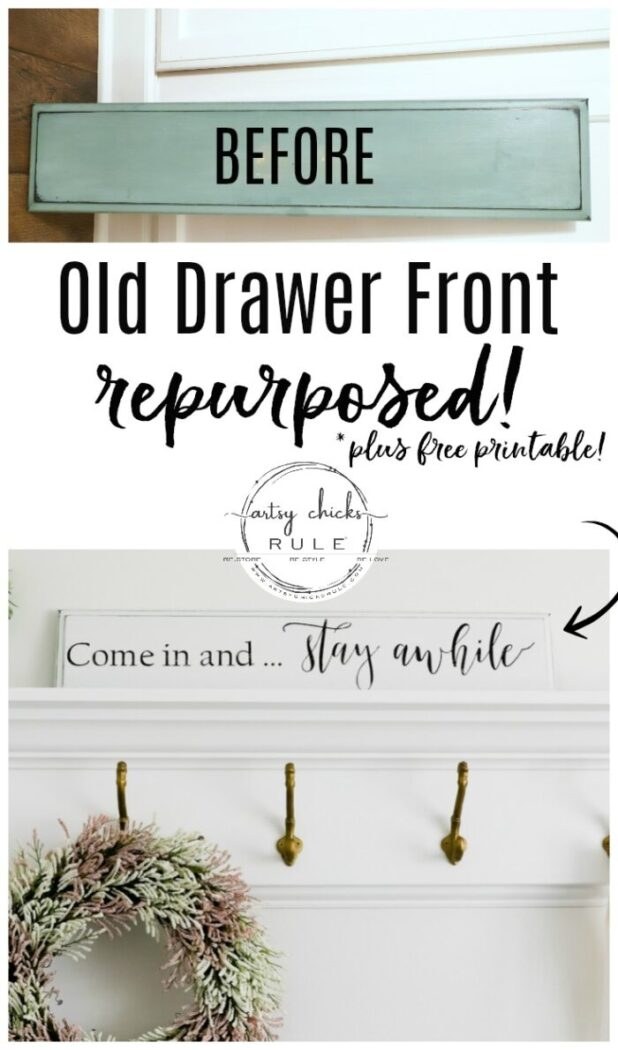 Repurposed Drawer Front Turned Sign - Use those old cabinet doors, don't throw them out! artsychicksrule.com #repurposeddoor #repurposeddrawer #diysign #stayawhilesign