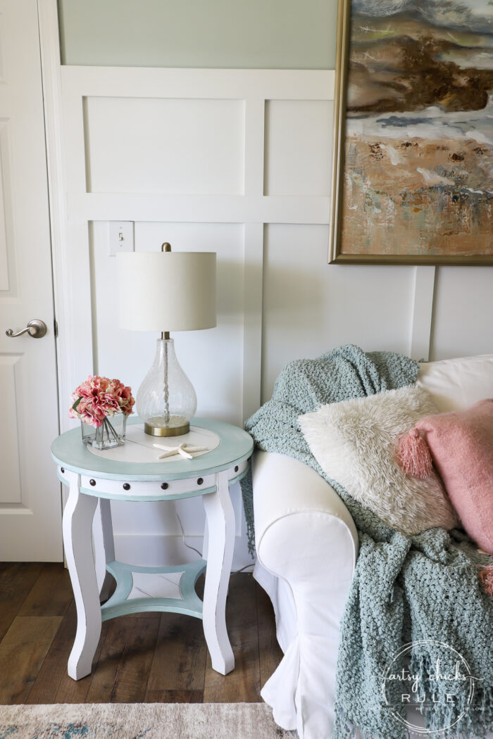 Nautical end table with pink pillow artsychicksrule.com