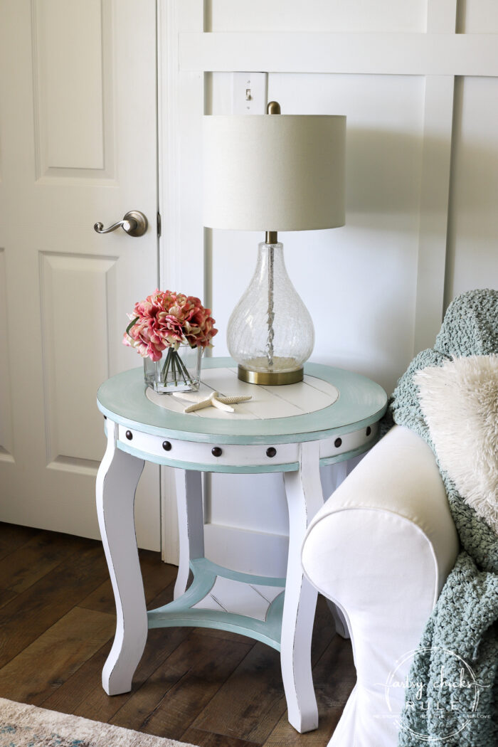 Nautical End Table blue and white makeover artsychicksrule.com