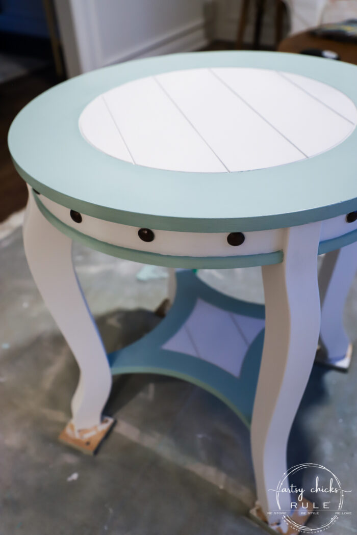 Nautical end table Dixie Belle Sea Glass paint artsychicksrule.com