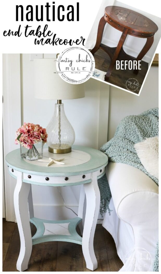 Nautical End Table before and after artsychicksrule.com