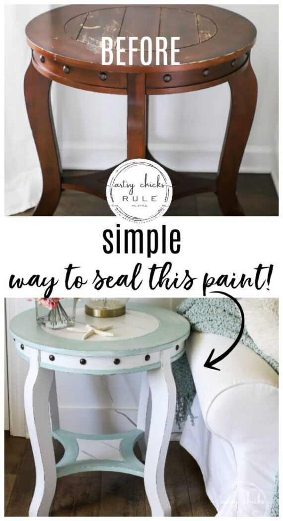 Nautical End Table Makeover ! All this old thrifty find needed was a little paint and this awesome sealer to bring it to life! artsychicksrule.com #chalkpainted #dixiebellepaint #paintedfurniture #chalkpaintmakeover #bluefurniture #coastalstylefurniture #nauticalstyle