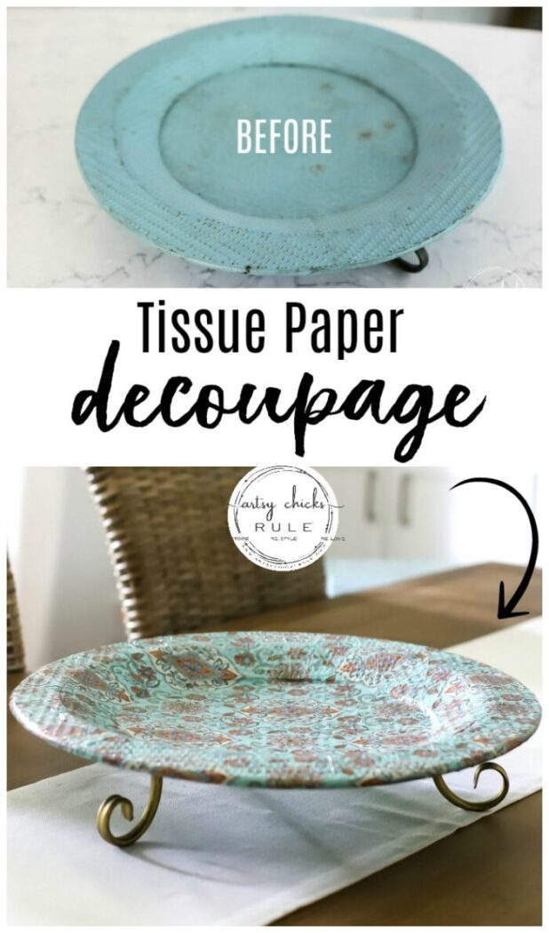 Tissue Paper Decoupage Simple To Do with Mod Podge and Decorative Tissue Paper! artsychicksrule.com