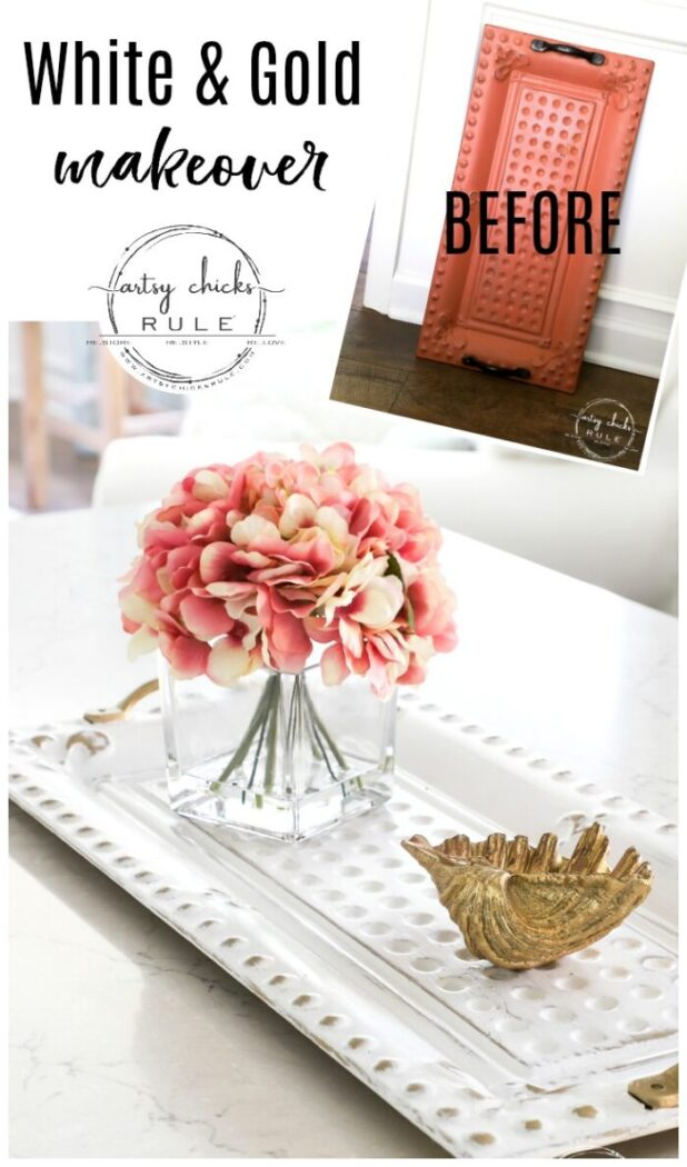 White and Gold Tray Makeover! Don't throw out your old decor! Paint it!! Change it up and re-love it! artsychicksrule.com #whiteandgoldtray #budgetdecor #thriftymakeover #diyhomedecor