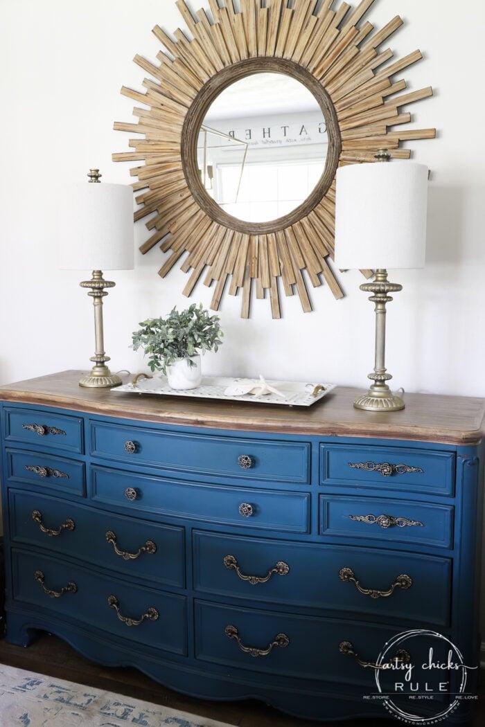 Aubusson Blue Dresser Starburst Mirror Gold Lamps artsychicksrule.com