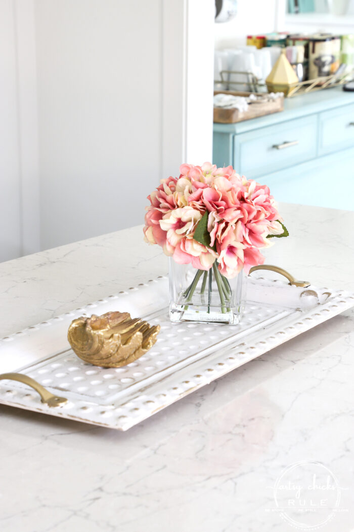 Pink flowers on white and gold tray artsychicksrule.com