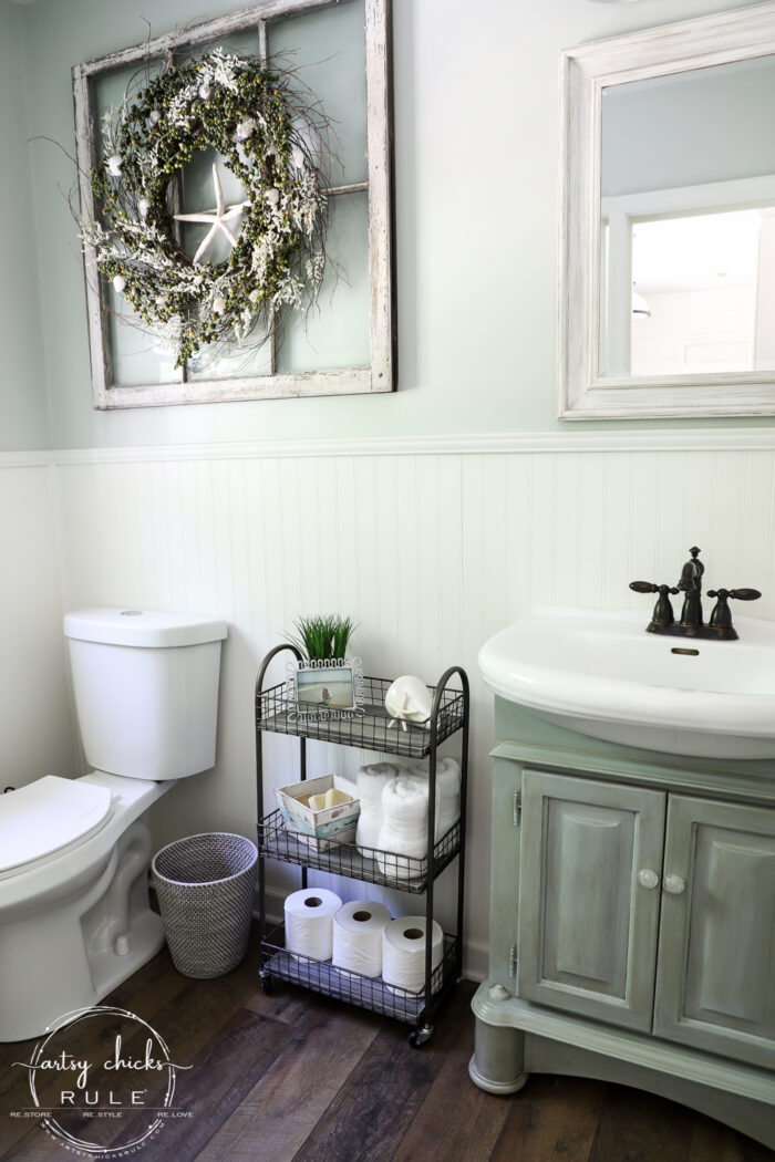 Freshen up your old decor with a little paint for a brand new look! This bath cart got a weathered wood finish, simply!