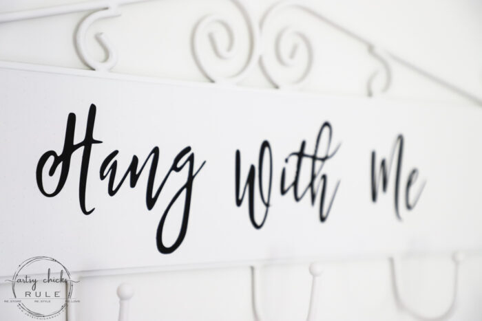 "Make this simple, fun & quirky ""Hang With Me"" sign and hook rack out of any old thrift store find for budget friendly decor! #artsychicksrule.com #hangwithme #hookrack #diysign #hangingsign"